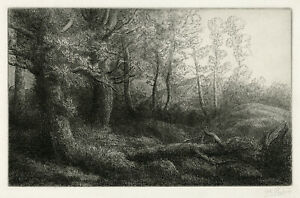 ALPHONSE LEGROS, 'LISIERE DE FORET', signed etching, c. 1880.