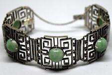and Jade Bracelet Vintage Chinese Silver