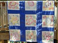 Emroidered Floral Quilt w Sashing Handmade Vintage 50x72 Cabin Country Twin SL