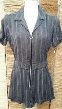 TOPSHOP BNWT Ladies Grey Stripe Print Short Sleeve Playsuit Size 6 RRP £42