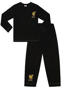 Liverpool Football Club Boys Official Long LFC Pyjamas  Black Gold