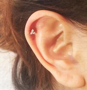 Triangle Crystal Gem Tragus Helix Bar Cartilage Ear Earring Ball End Tragus Stud