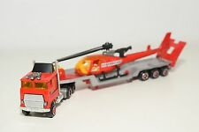 MAJORETTE MACK TRUCK WITH TRAILER HELICOPTER CAMION NEAR MINT CONDITION