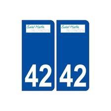 42 Saint Martin la Plaine logo ville autocollant plaque stickers -  Angles : arr