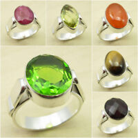 Choose Your Gemstone, Size ! 925 Silver Plated PERIDOT GLASS & Other Stone Ring