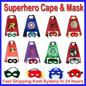Superhero Capes Costume Cape & Mask Kids Girls Boys Spiderman PJ Mask Paw Patrol