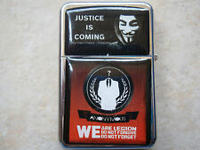 ANONYMOUS WE ARE LEGION VENDETTA V STAR CIGARETTE LIGHTER & EXTRA ZIPPO FLINTS