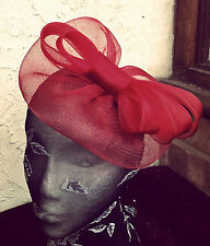 dark red maroon fascinator millinery burlesque wedding hat ascot race bridal