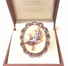 Vintage Lucite  Faux Pearl And Bird Scarf Brooch Pin