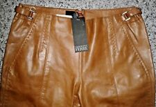 "Gianfranco Ferre Cognac 100% Calf Leather Trousers/Pants Open Hem - W30""/L35.5"""