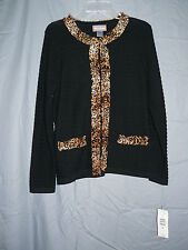 Super Condition TanJay Jacket Blazer Sweater Black Animal Print Trim Size SP NWT
