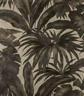 Brass Gold Black Banana Leaf Palm Leaves Tropical Textured Wallpaper 96240-1