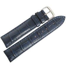 22mm RIOS SHORT Louisiana Blue Alligator Grain Leather German Watch Band Strap