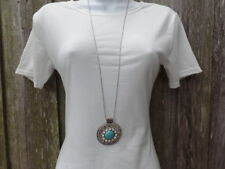 Long Silver Chain Turquoise Stone Drop Shaped Pendant Open Charm Necklace