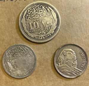 1916 Egypt SILVER Piastres Lot 3 Coins Total