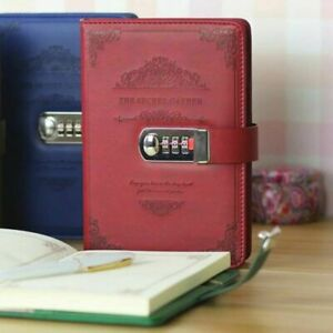 Newest Notebook With Lock Diary Retro Password Book Diary Journal Lockable A5