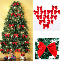 12PCS Bow Christmas Tree Decoration Xmas Bowknot Party Garden Wedding Ornament