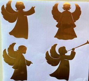 4 ANGEL STICKERS Shiny GOLD Wall Furniture window Crafts CHRISTMAS decor vinyl