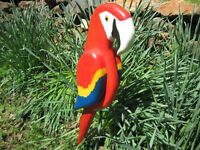 Hand Carved Parrot Sculpture Indoor or Outdoor Display