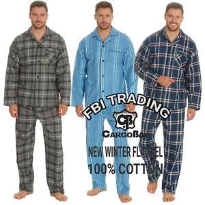 Mens Pyjamas 100% COTTON BRUSHED  Set Sleeping Nightwear Pjs M-XXL BUTTON UP