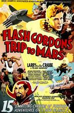 Flash Gordons A Trip to Mars Vintage Movie Poster Lithograph Buster Crabbe