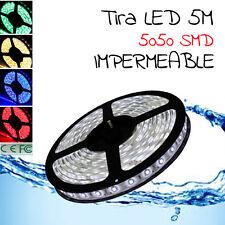 TIRA LED 5 METROS RGB 5050 SMD MULTICOLOR resistente agua ESPAÑA / IMPERMEABLE