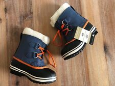 NWB Sorel Children Boots Navy/orange 10 Waterproof Yoot PAC TP Snow boots