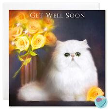 Get Well Soon Carte ami roses jaunes à partir ou PERSAN CHINCHILLA Cat Lover