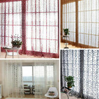 Decal Door Window Curtain Floral Tulle Voile Drape Panel Sheer Scarf Valances