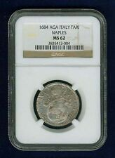 "ITALY NAPLES  1684-AGA ""TARI"" SILVER COIN CHOICE UNCIRCULATED CERTIFIED NGC MS62"