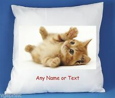 CAT / KITTEN PERSONALISED LUXURY SOFT SATIN POLYESTER CUSHION COVER D2