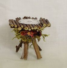 Fairy Garden Miniature Dollhouse TWIG Furniture TABLE Moss Roses Hand Made USA
