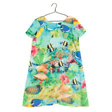 RRP €120 RELATED Crepe Shift Dress Size 14 Sea Life Print Short Sleeve V back