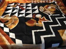 "Art Of The Scarf Tie Rack Head Scarf Brown Black White Gold 35""x 35""Print *"