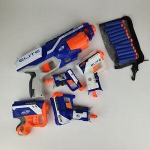 Lot of (5) Nerf N-Strike Blaster Guns Elite Disruptor Reflex Jolt Triao W/ Darts