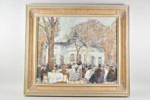 k67v23- Gemälde, Kaffeehausszene nach Impressionist. Vorbild, sign. W. Myska