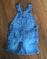 OshKosh Toddler Unisex Denim Blue Jean Shortalls Cotton Overalls Shorts Size 3T