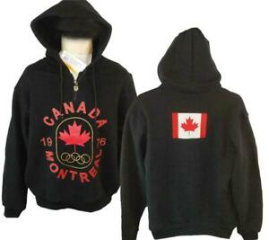 1976 Montreal Canada Winter Olympics Mens Size S-M-L-XL Black Hoodie Jacket $80