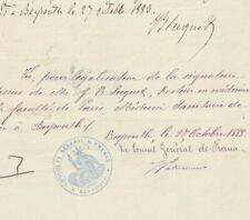 LEBANON-FRANCE Rare Blue Cachet Consulat France Beirut Tied Certificate 1883