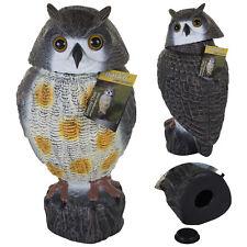 Realistic Large Owl Decoy Spinning Rotating Head Bird Pigeon Garden Crow Scarer
