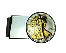 24k Gold Highlighted Walking Lady Liberty Half Dollar Hinged Back Money Clip