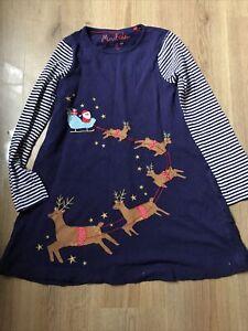 Girls Mini Boden Santa And Reindeer Dress 8-9 Years