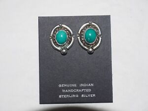 Navajo Ladies Turquoise Cabochon Earrings Sterling Silver Post Backs