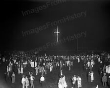 8x10 Print KKK Ku Klux Klan Meeting 1925 Location Unknown Cross Burning #KK80