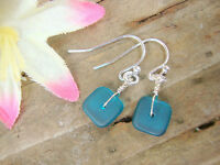 Square Caribbean Blue Sea Glass .925 STERLING SILVER Earrings USA HANDMADE