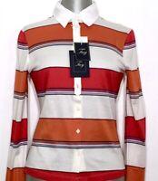 FAY by TODS Damen Langarm Poloshirt Bluse Shirt rot orange gestreift NEU ETIKETT