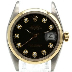 ROLEX 1500 14K/SS OYSTER PERPETUAL DATE 34MM GENTS DIAMOND DIAL WATCH- #W4769-2