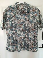 Island Shores Men's Vintage Short Sleeve Hawaiian Shirt XL Blue Green Palm Trees