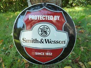 "SMITH & WESSON porcelain sign advertising logo 20"" vintage guns firearms colt US"