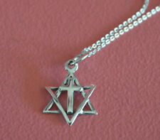 925 Sterling Silver Religious Star of David Messianic w/ Cross Necklace Jewelry